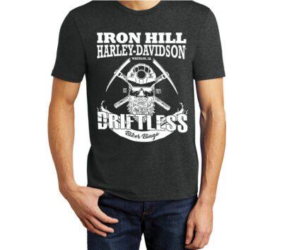 Male wearing black frost colored Driftless Biker Bingo logo shirt with white ink.