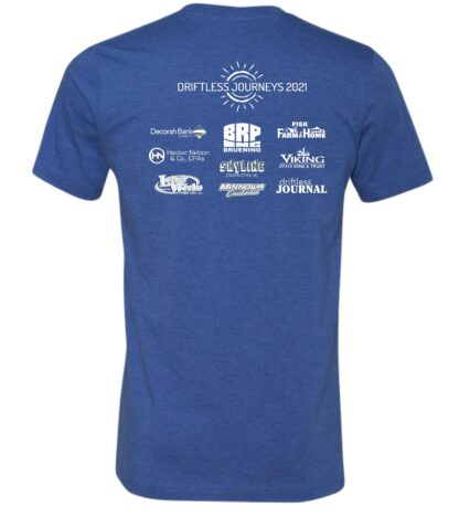 Back of Driftless Journeys 2021 t-shirt Heather Columbia Blue with logos in white ink