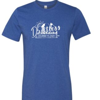 Driftless Journeys 2021 t-shirt Heather Columbia Blue with logo in white ink