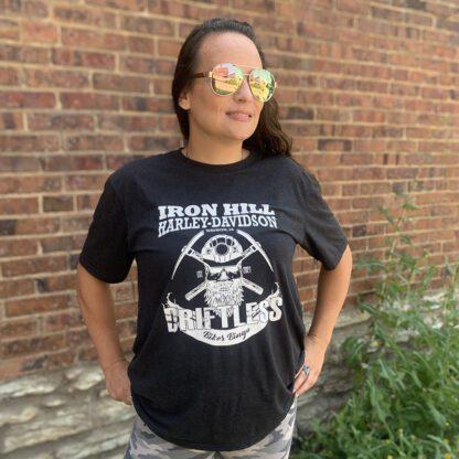 Female wearing black Driftless Biker Bingo Shirt