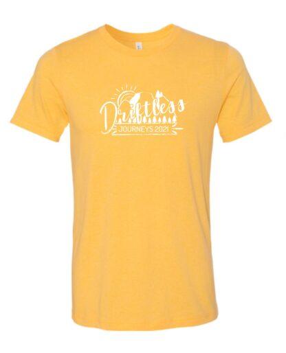 Heather yellow short sleeve tee with white Driftless Journeys logo