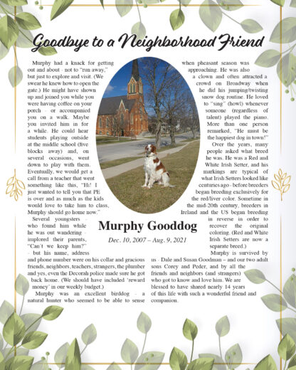 Sample Pet Memorial Obituary with Photo